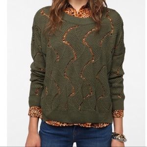 Staring At Stars Olive Open Wave Stitch Sweater M